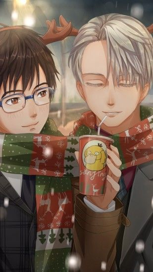Katsuki Yuuri, Victor Nikiforov, Psyduck Drink, Winter, Scarf, Yuri On Ice