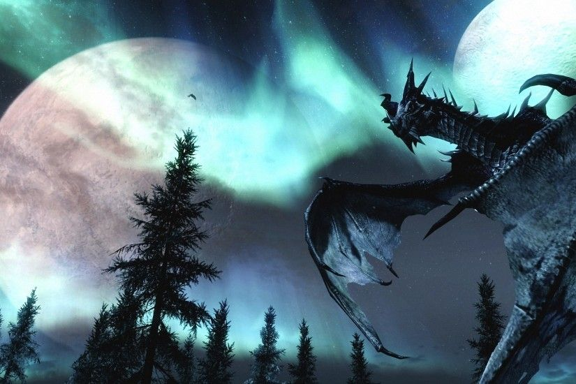 dragon fantasy moon dark forest HD wallpapers