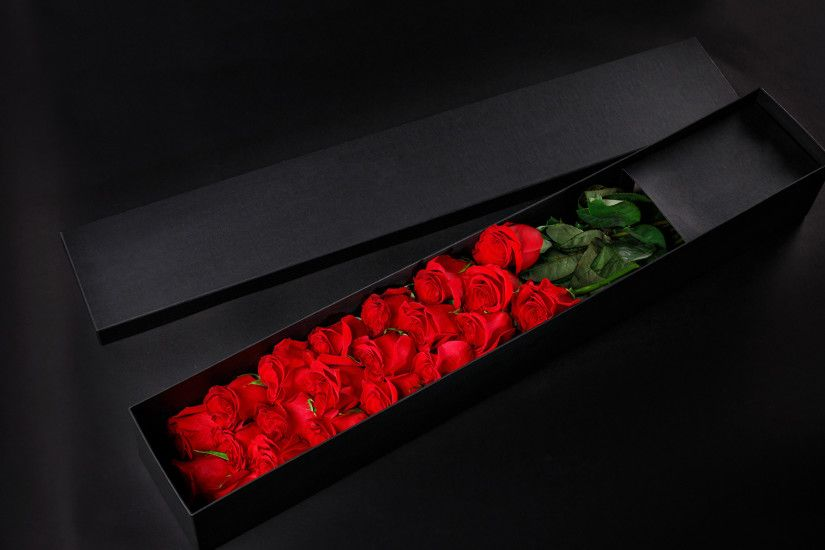 Pictures Red Roses Box Flowers Black background 1920x1200