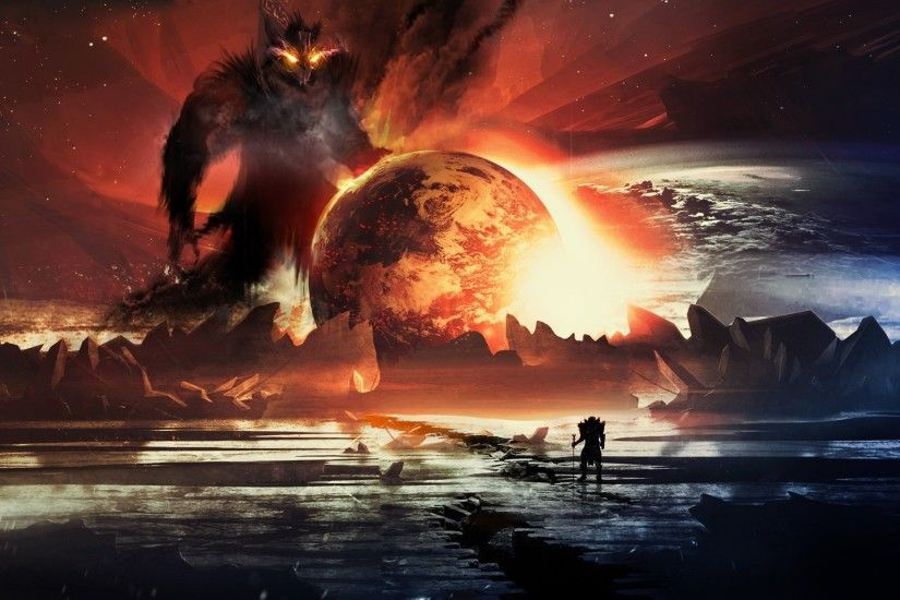 artwork, Fantasy Art, Digital Art, Planet, Warrior, Creature Wallpapers HD  / Desktop and Mobile Backgrounds