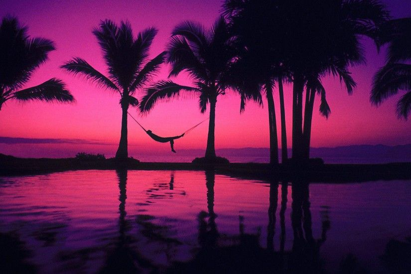 Beach Purple Sunset