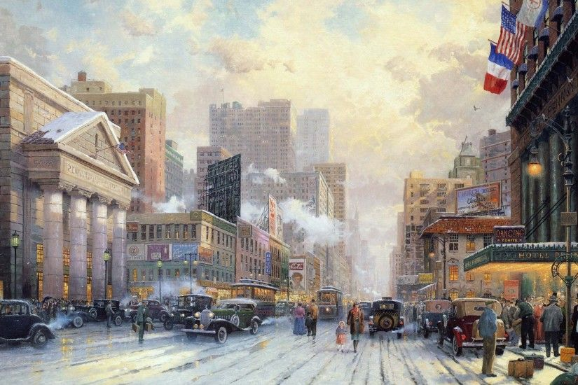 Pictorial art Thomas Kinkade wallpaper Thomas Kinkade New York wallpaper ...