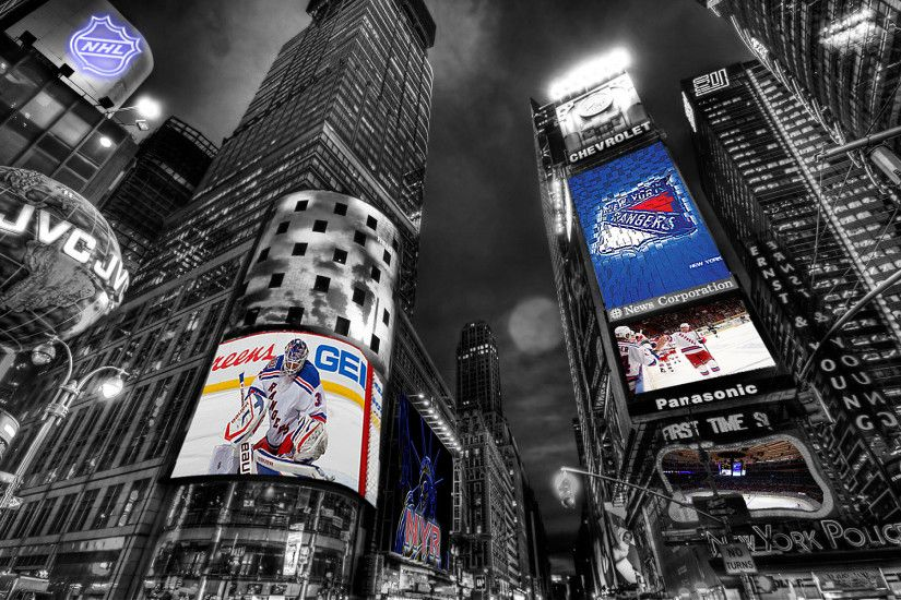 Realyze 2 0 NHL New York Rangers Times Square Wallpaper by Realyze