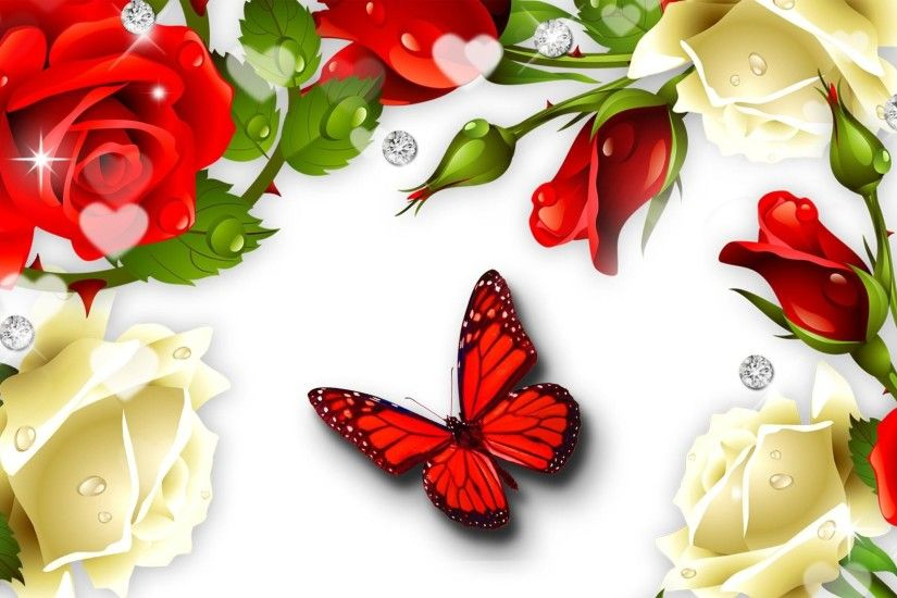 Red Butterfly Wallpaper | Red Butterfly Desktop Pics Wallpapers 7110 - HD…