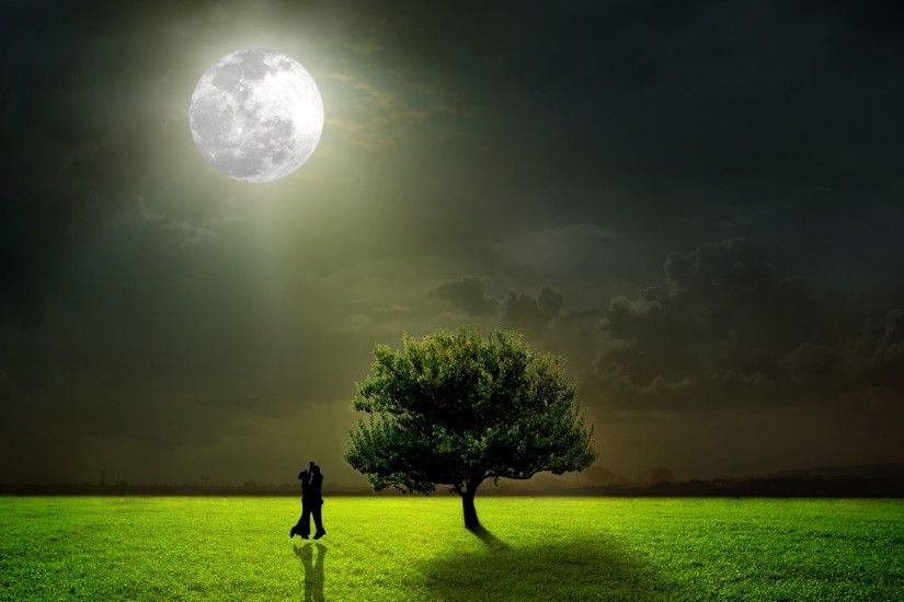 Undder Tag - Dancing Moonlight Grass Romantic Tree Dancers Lovers Evening  Field Couple Full Moon Night
