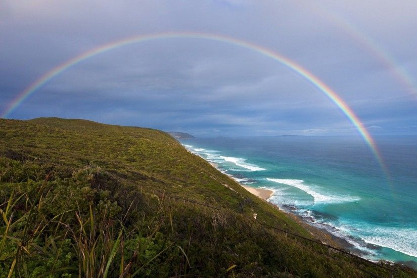 Preview wallpaper rainbow, coast, ocean, surf 2560x1440