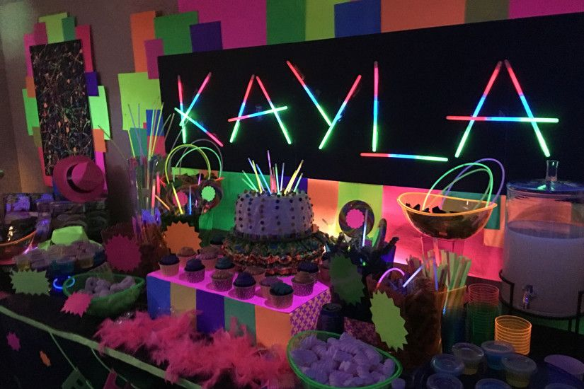 Dessert/candy buffet and decor Glow in the dark party by Melita