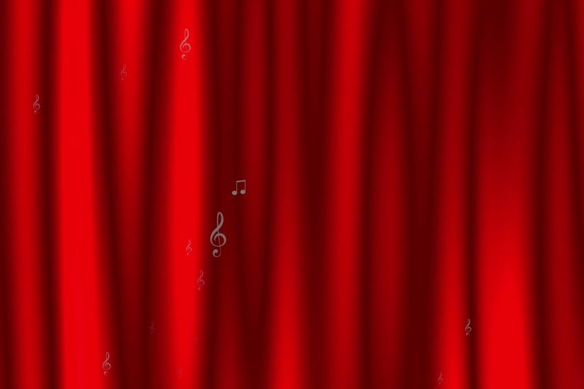 Subscription Library Animated dynamic background with music notes and marks  on the background of a stylized red theater