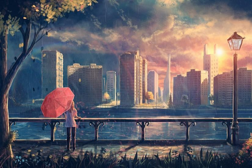 artwork, Fantasy Art, Anime, Rain, City, Park, Umbrella Wallpaper HD