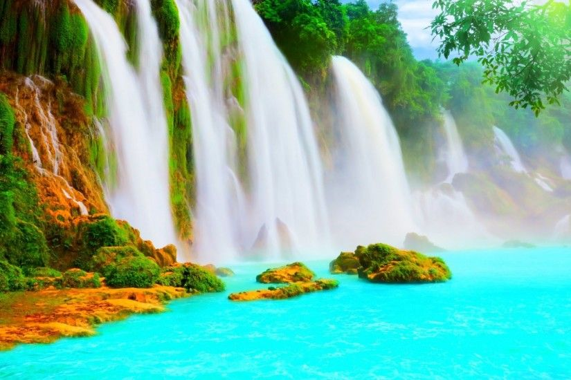 Beautiful Scenic Waterfall HD wallpaper ~ wallpapersQu Water ...
