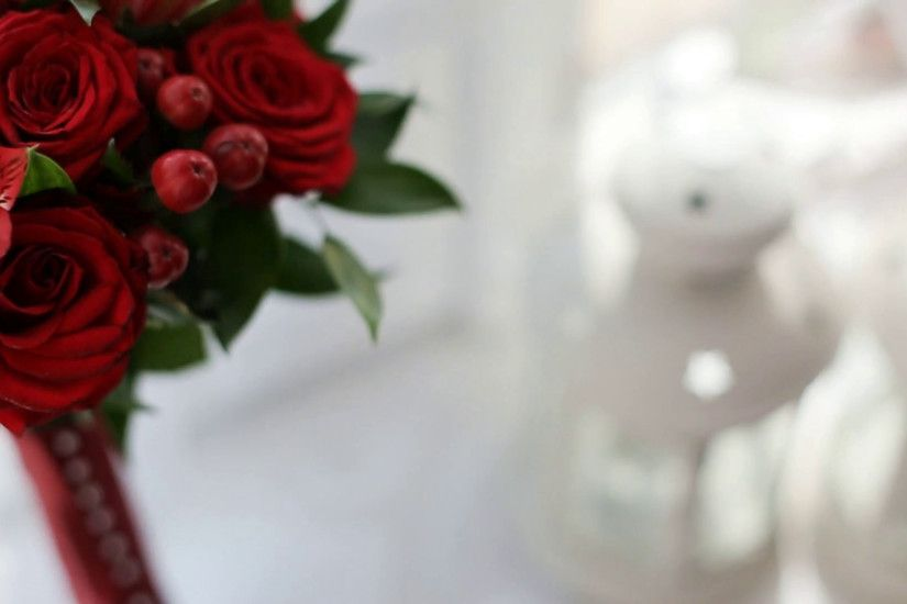 Beautiful red flower bouquet on the white background. Wedding bouquet.  Close up Stock Video Footage - VideoBlocks