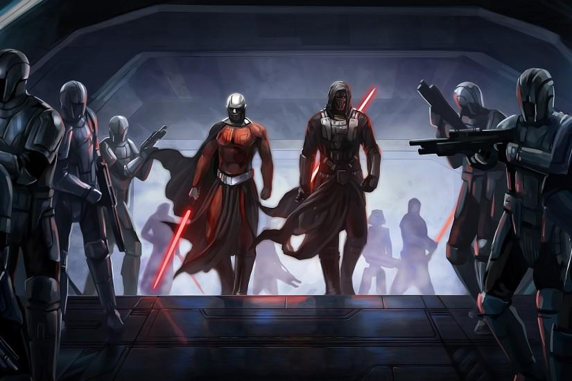 Preview wallpaper star wars the old republic, guard, characters,  lightsabers 3840x2160