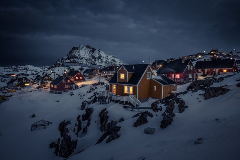 Greenland, Night, House, Landscape, Lights, Town, Snow, Overcast, Mountain,  Dark Wallpapers HD / Desktop and Mobile Backgrounds