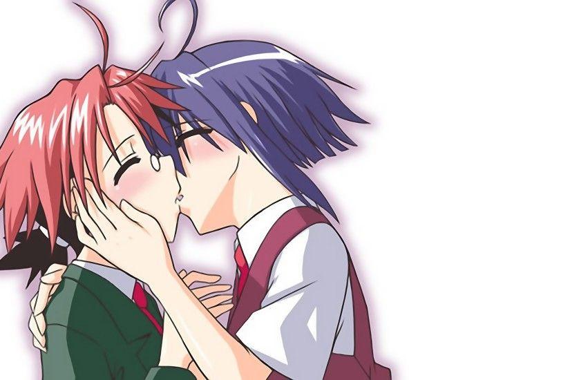 Wallpaper Anime Boy Girl Kiss Tender