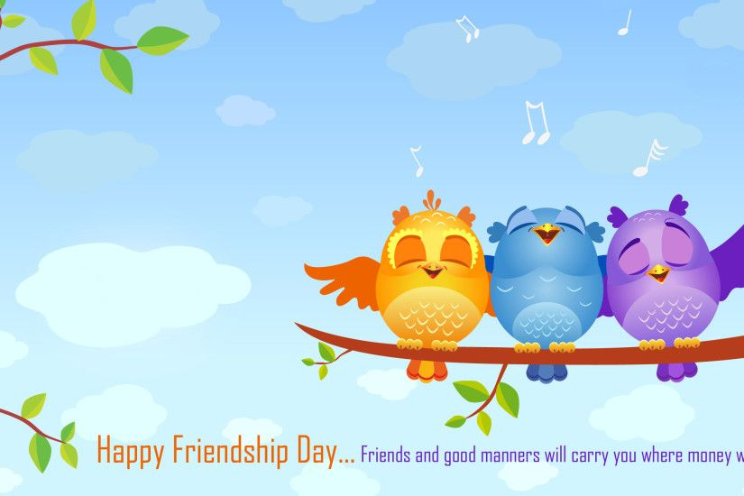 friendship day singing birds quotes hd wallpaper