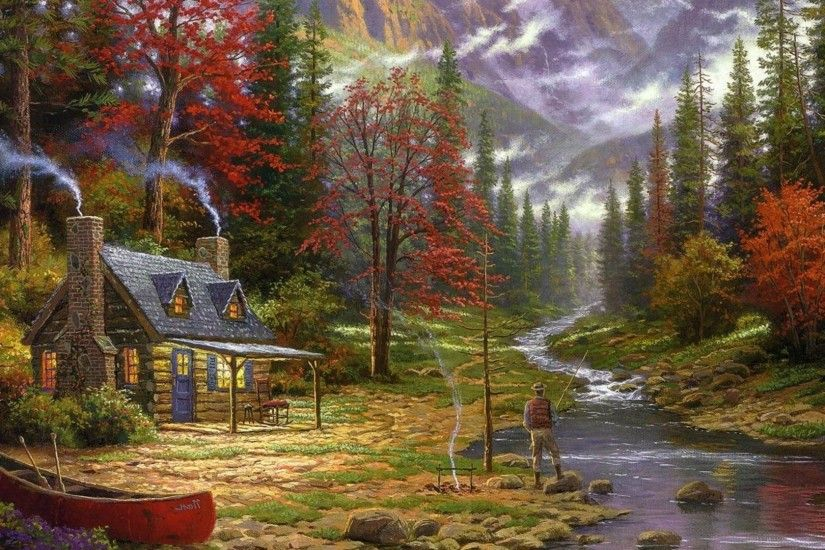 painting, Cottage, Canoes, River, Fishing, Forest, Chimneys, Thomas Kinkade  Wallpapers HD / Desktop and Mobile Backgrounds