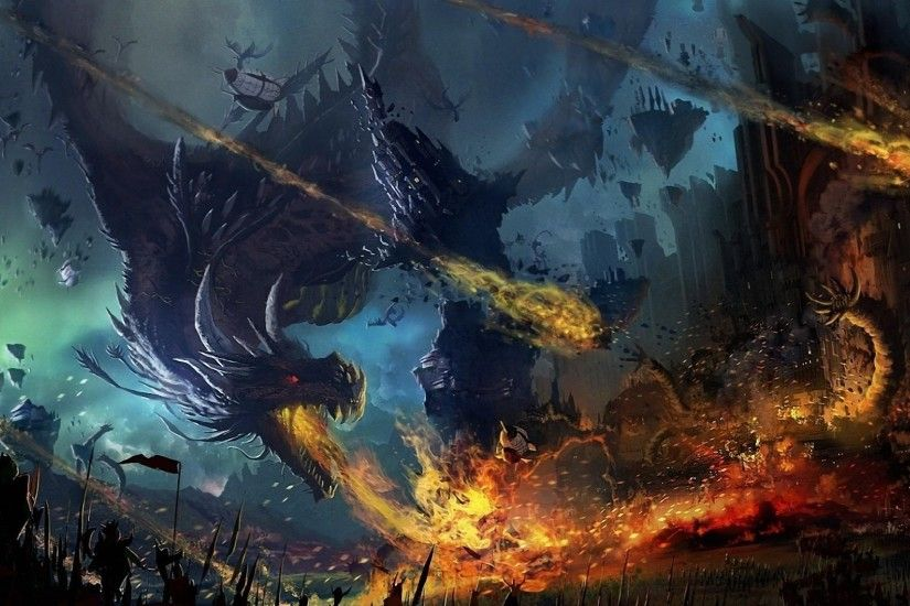 Preview wallpaper dragon, fall, fire, flame, war, battle 1920x1080