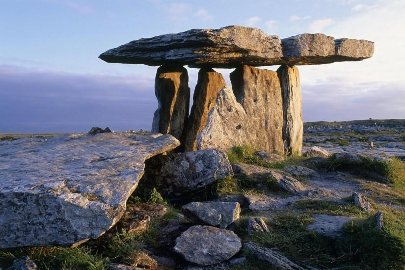 Poulnabrone Dolmen in the Burren, County Clare, Ireland