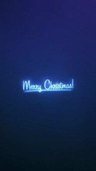 Merry Christmas Neon Blue Light Android Wallpaper ...