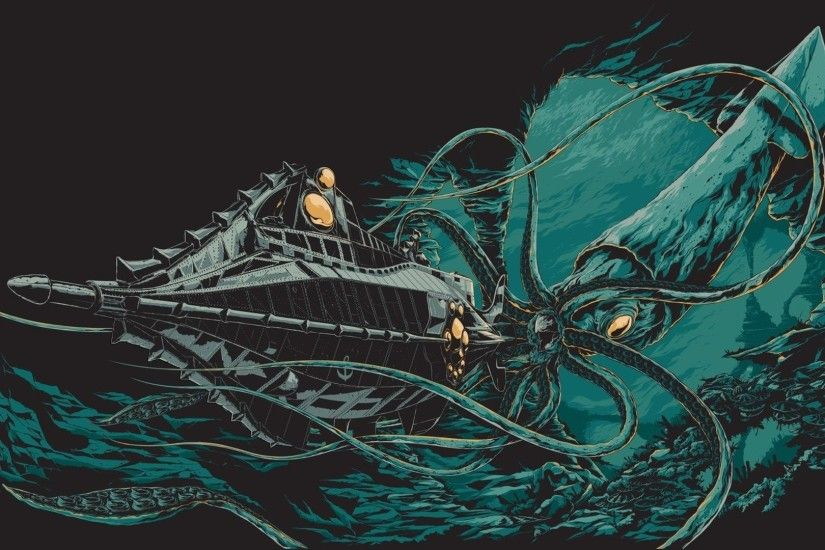 ... Wallpaper Octopus, Nautilus, Jules Verne, bottom, ocean, boat .