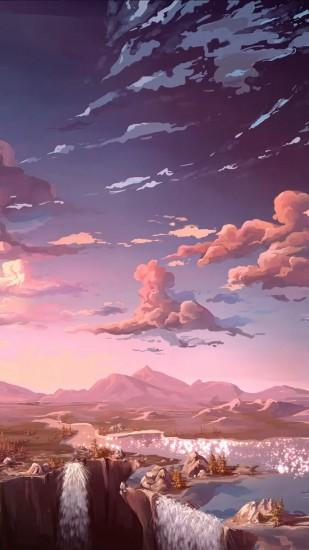 ... Anime City Painting Iphone 6 Nature Anime Art Sea IPhone Wallpaper 13  ...
