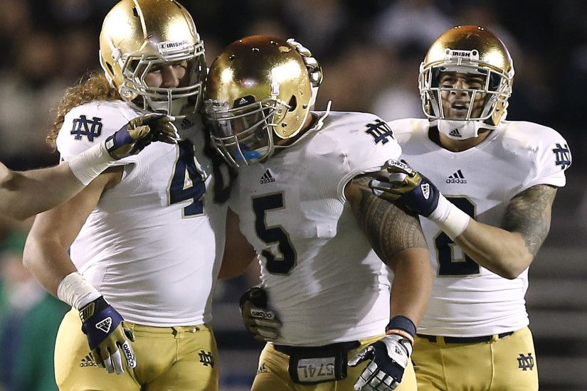 Teammates congratulate Notre Dame linebacker Manti Te'o for an interception  during a game against