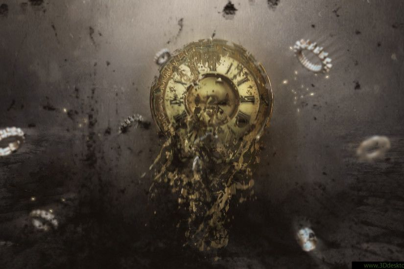Exploding #Clock #Cogs #Steampunk 3D Desktop Wallpaper ~ Abstract #Design  #Art