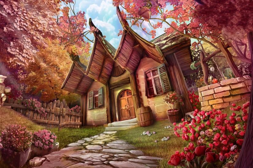 Fantasy - House Artistic Fantasy Tree Path Flower Wallpaper