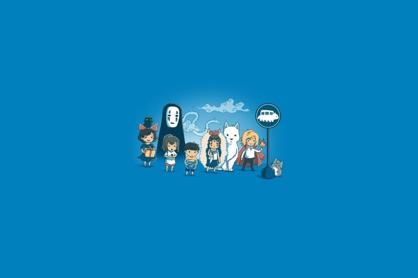 Studio Ghibli, My Neighbor Totoro, Totoro, Howls Moving Castle, Castle In  The Sky, Princess Mononoke, Simple Background, Minimalism, Ponyo, Spirited  Away, ...