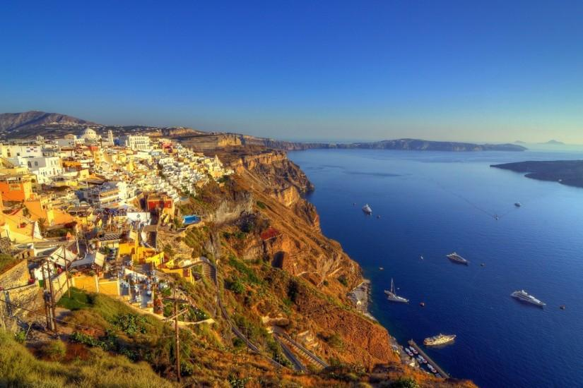 Preview wallpaper greece, santorini, island, sea, hdr 1920x1080