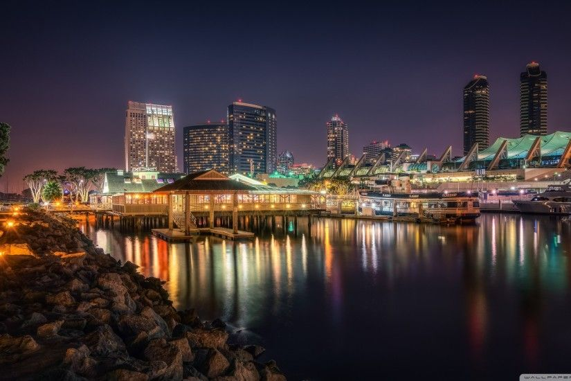 San Diego at Night Scene HD desktop wallpaper : Widescreen .