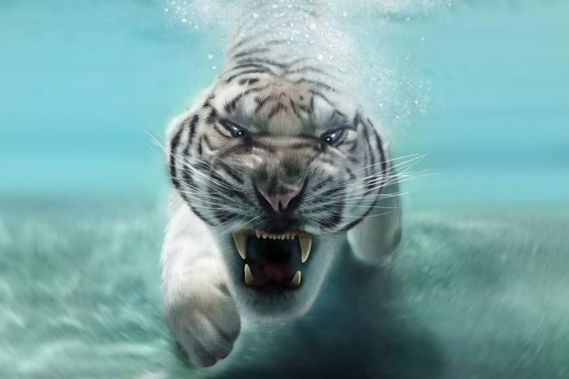 tiger, predator, white tiger, water, face, mouth, teeth, underwater