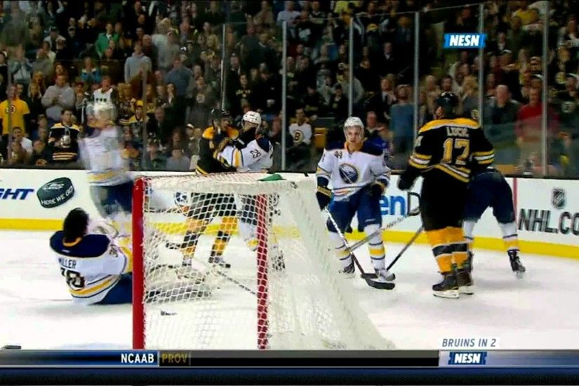 Ryan Miller railroaded by Milan Lucic 11/12/2011 (1080p)