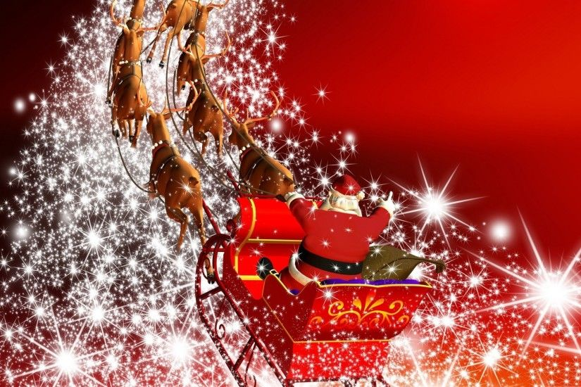 happy christmas wallpapers santa claus in harness racing away