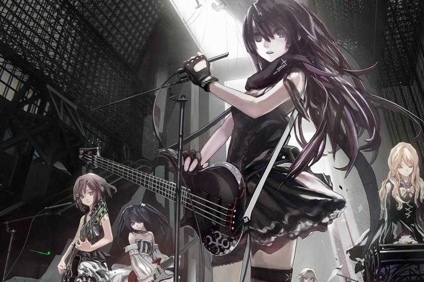 Preview wallpaper anime, girls, crowd, music, band, guitar, microphone  2560x1440
