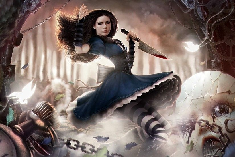 alice madness returns alice doll chains knife the mechanism watches  butterfly motion blood forest feathers