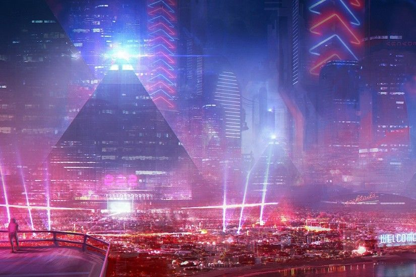 Future Light City Desktop Wallpaper