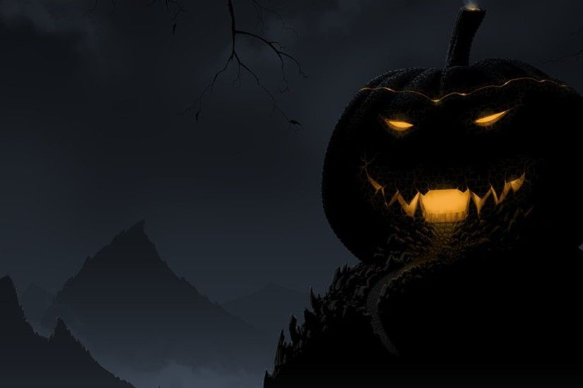 mountain forest behind the Pumpkin Creepy Smile in darkness happy halloween.  Let magic4walls.com