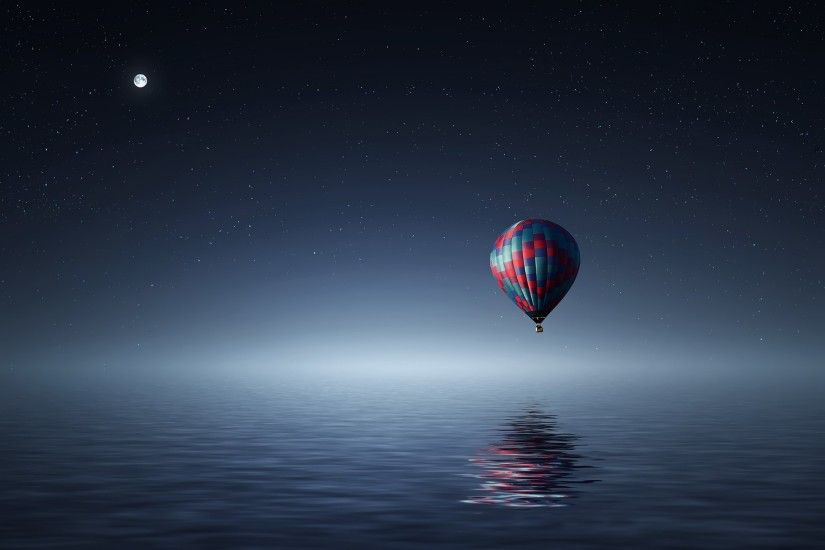 Red and Blue Hot Air Balloon Floating on Air on Body of Water during Night  Time · HD wallpaper ...