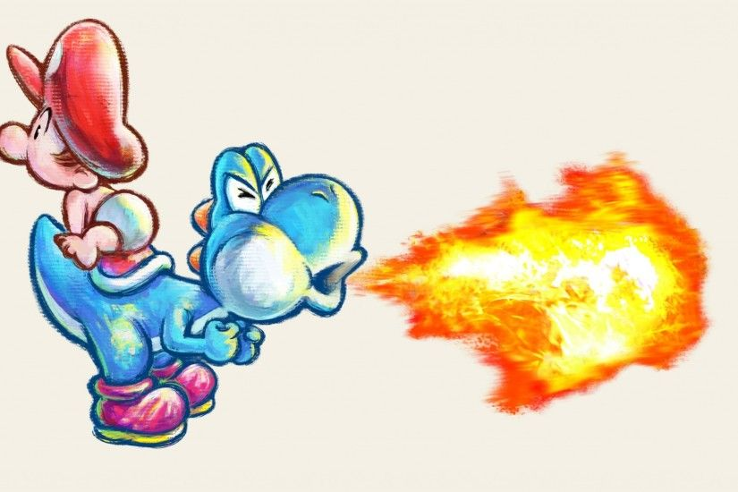 Preview wallpaper mario, yoshi dash, fire, art 2048x1152