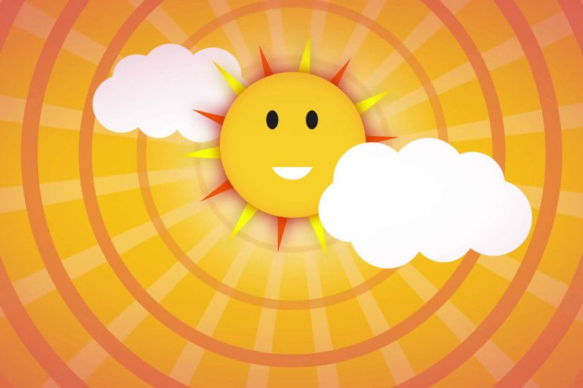 funny Cartoon smiling sun over yellow and orange sky with sunburst and some  clouds, animation of cute sun vs clouds loop with space for your text or  logo.