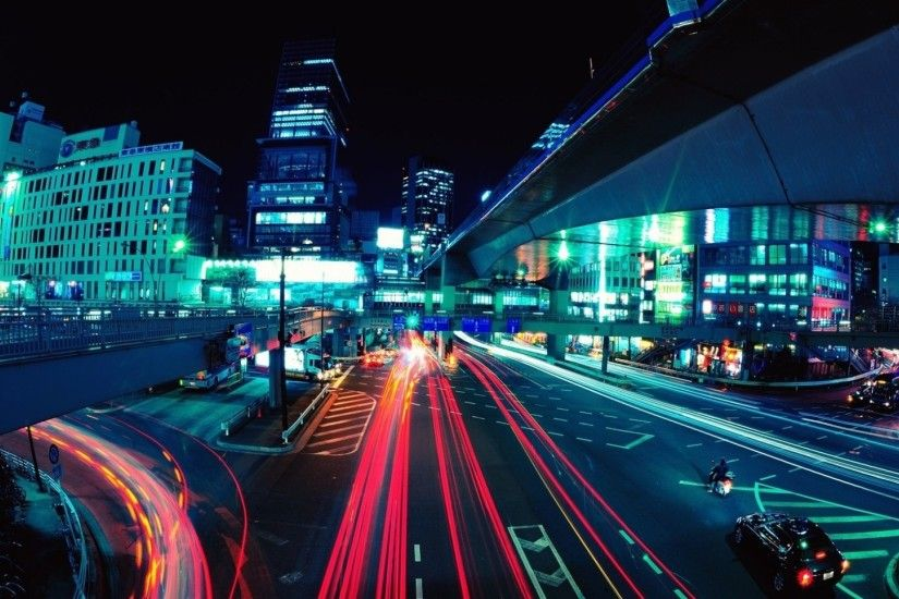 1920x1080 Wallpaper city lights, lights, road, cars, buildings