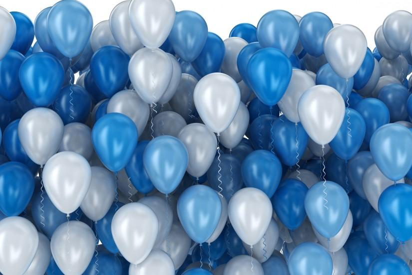 Blue and white party balloons isolated on white background