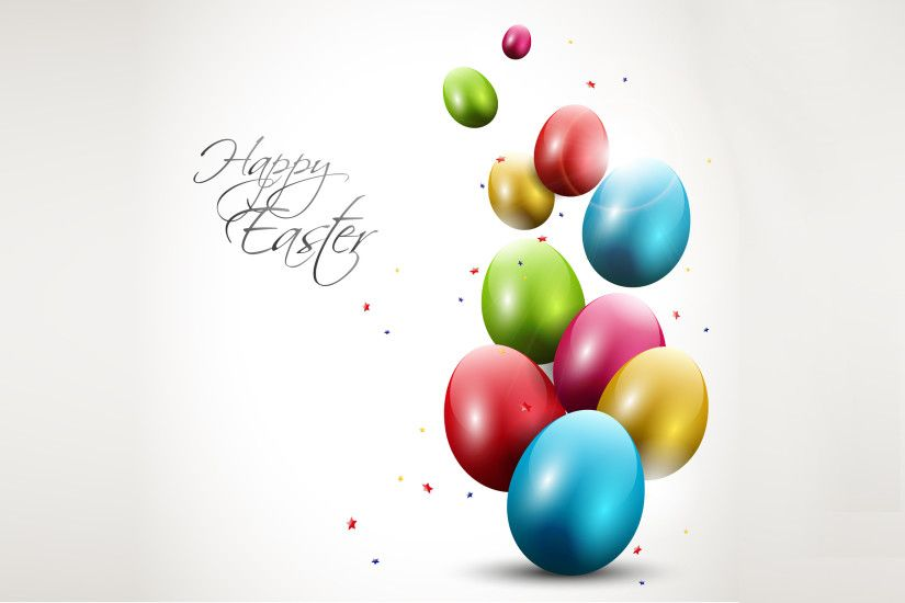 Modern Easter background with colorful eggs