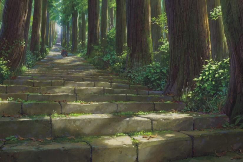 Anime - The Boy And The Beast Stairs Forest Bakemono No Ko Wallpaper