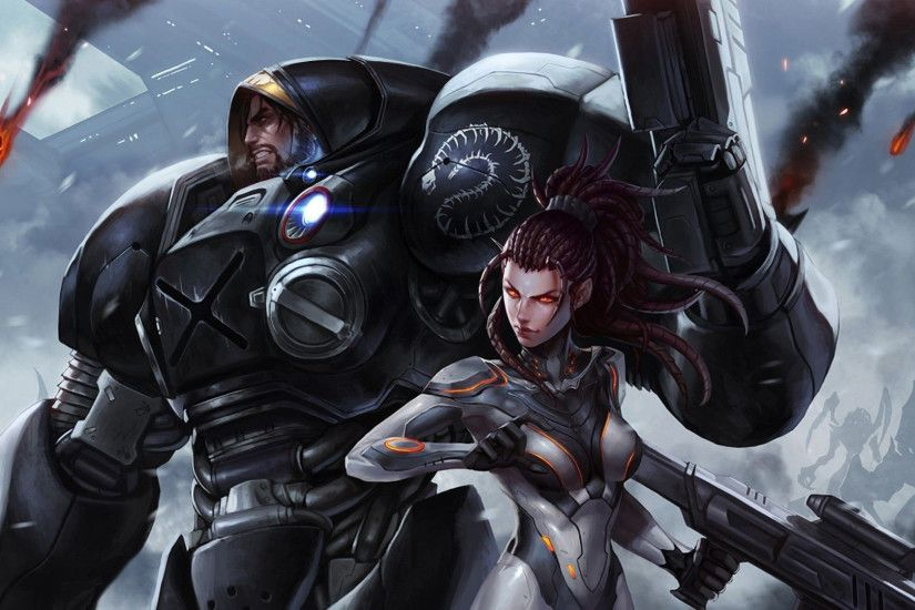Wallpaper jim raynor sarah kerrigan battle couple starcraft art 1920x1080