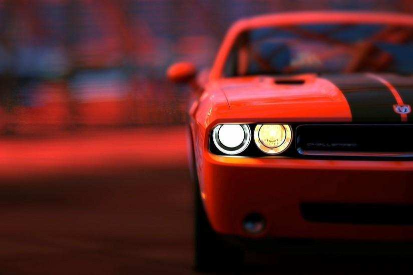Dodge Challenger STR8 Art Night Headlight HD Wallpaper - ZoomWalls
