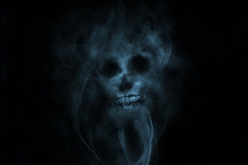 1920x1080 Wallpaper smoke, skull, light, green, black