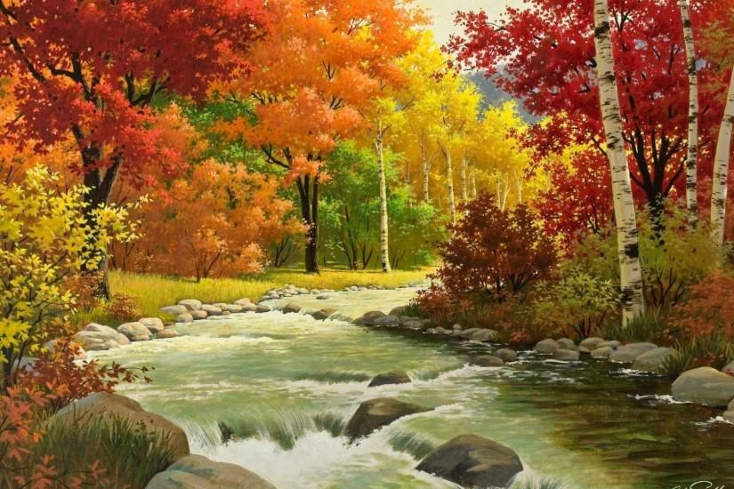 Preview wallpaper autumn, landscape, painting, river, wood 1920x1080
