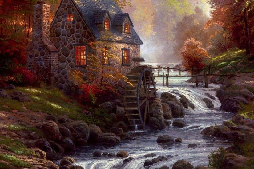 Thomas, Kinkade, Autumn, Wallpaper, Desktop, Background, Amazing Photos,  Background, Download, 1920×1200 Wallpaper HD